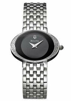 Bulova Women's 96R49 Diamond Watch Bulova. $267.95. Stainless-steel case; Black dial. Quality Japanese-Quartz movement. Water-resistant to 99 feet (30 M). Case diameter: 28 mm. Mineral crystal