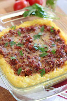 Baked Polenta Pie   Polenta, ground chicken, tomatoes, zucchini, Parmesan cheese