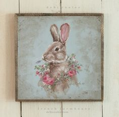 French Farmhouse Bunny with Rose Wreath - Debi Coules Romantic Art Shabby Style, Shabby Chic Mode, Romantic Shabby Chic, Shabby Chic Interiors, Shabby Chic Bedrooms, Shabby Chic Kitchen, Shabby Chic Furniture, Shabby Chic Decor, Vintage Furniture