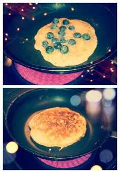 3 egg whites, 1 mashed banana, 1 scoop protein powder, and blueberries...  I didn't use blueberries, added PB2 and a few dark chocolate chips instead :-) DELICIOUS! *saf