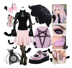 """""""Pastel Pink Goth"""" by crewelladeville ❤ liked on Polyvore featuring Hot Topic, SIWA, Manic Panic NYC and T.U.K."""