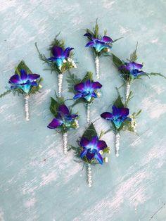 66 Trendy wedding purple boutonniere blue orchids – Famous Last Words Blue Orchid Bouquet, Blue Orchid Wedding, Orchid Bouquet Wedding, Purple Orchids, Peacock Wedding, Bridal Flowers, Floral Wedding, Wedding Colors, Trendy Wedding