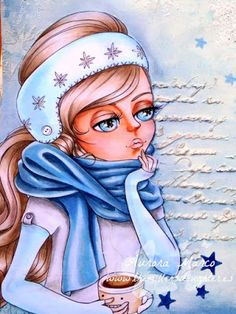 Copic Marker Spain: Winter. Details colored / Colouring details : Skin / Skin : E000, E00, E11, E21, R20 (blush and lips) Hair / Hair : E40, E42, E43, E44 Scarf / Scarf : B91, B93, B95, B97 Turban and sleeves / Headband and sleves : B0000, B000, B00, B91 Jersei / Top : C0, N1, N3, N5