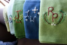 EmilyStyle: To Do: Embroider Kitchen Towels Dish Towels, Tea Towels, Embroidered Towels, Homemade Christmas Gifts, Kitchen Towels, Needlework, Crafting, Hands, Gift Ideas