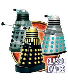 Doctor Who Dalek Collectors Set This set of 3 poseable Daleks contains examples of key designs from Planet of the Daleks, the Dead Planet and Genesis of the Daleks.Dalek from The Dead Planet 1963.The 1st Doctor lands the Tardis on a http://www.comparestoreprices.co.uk/action-figures/doctor-who-dalek-collectors-set.asp