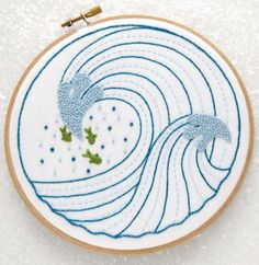 Ocean Waves DIY Embroidery Kit   Modern Embroidery Kits for Beginners