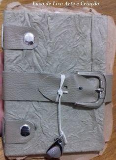 Caderno em cartonagem 16 x 12 cm Tecido de estofado napa bege 40 folhas 80 páginas Luxo de Lixo Arte e Criação / by Val