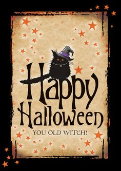 Gorgeous halloween card, hand finished with orange glitter, blank inside, printed on GF Smith UK card. Perfect for Halloween or for any witches you know! Halloween Makeup Witch, Scary Halloween Pumpkins, Halloween Witch Wreath, Halloween Tags, Halloween Prints, Holidays Halloween, Halloween Decorations, Halloween Witches, Halloween Prop