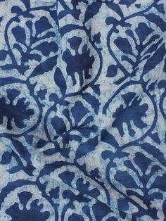 Indigo White Hand Block Printed Cotton Fabric Piece 2.5m - F0916084