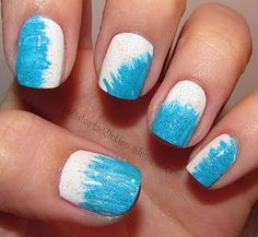 white polish and turquoise acrylic paint and the fanned out paintbrush to go in at different angles. love it!
