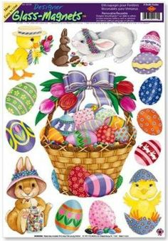 "Easter Basket & Friends Clings (8 Easter eggs included) Party Accessory  (1 count) (5/Sh) Unknown. Save 30 Off!. $3.49. Measures: 12"" x 17"" Sh"
