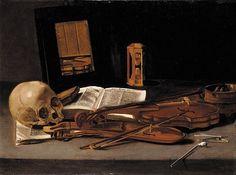 Modern Vanitas Still Life | Leidener Meister, Vanitas-Stillleben mit zwei Violinen, Spiegel und ...