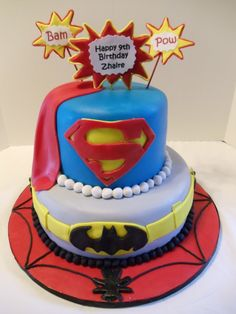 Super hero cake 2 - Oliver would love this! Justice League Cake, Boy Birthday Parties, Birthday Ideas, Superhero Cake, Classic Cake, Cookies For Kids, Specialty Cakes, Cakes For Boys, Fondant