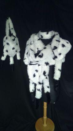 Cruella de ville shawl dalmation dog tails bag chocker plus size fancy dress