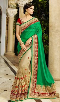 Simple and elegant that will give you a regal look this beige and green color net georgette half n half sari. This attire is effectively developed with bead, lace, resham and stones work. #trendycollectionsaree #traditionalsaris #floralworksari
