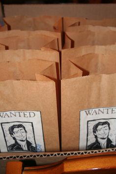 Boys party favor bags