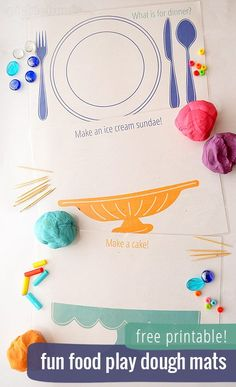 Free Printable Play Dough Mats (They make great place mats too!) My kids love make pretend food with their playdough, these will make fun kids activities. Playdough Activities, Craft Activities For Kids, Preschool Activities, Projects For Kids, Crafts For Kids, Family Activities, Toddler Fun, Food Themes, Planners