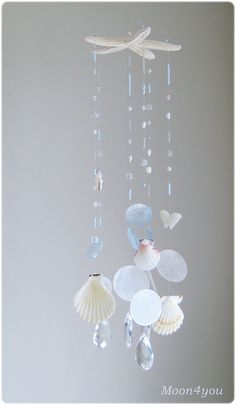 Starfish Beach Decor /Beachy wall Art/Beach mobile/Sea Glass Wall Hanging/Seastars Decor/Crystal Suncatcher/Capiz shell mobile/Summer mobile on Etsy, $64.11