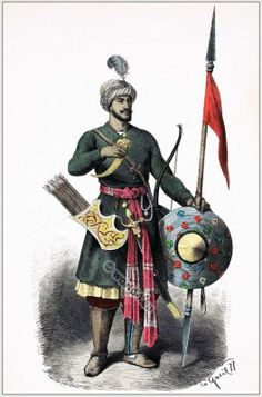 Military dress of India warrior, 15th century Hindu soldier
