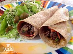 Vualá: Wraps de carne y ensalada verde
