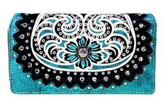 Montana West~Floral Boot Scroll Design Secretary Style Wallet~Concho~Studs~Black #MontanaWest #TrifoldSecretaryStyle