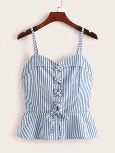 To find out about the Striped Lace-up Ruffle Hem Cami Top at SHEIN, part of our latest Tank Tops & Camis ready to shop online today! Girls Fashion Clothes, Girl Fashion, Fashion Outfits, Clothes For Women, Diy Clothes, Casual Skirt Outfits, Summer Outfits, Cute Outfits, Women's Dresses