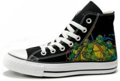 5daeb910de2d TMNT Teenage Mutant Ninja Turtles Fan art Hand Painted Converse All Star Hi  Top Sneakers Black M+W S