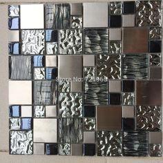 Silver metal mosaic stainless steel tile kitchen backsplash wall tiles SSMT114 glass mosaic tile glass tiles mosaics