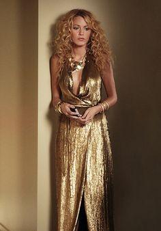Serena van der Woodsen (Blake Lively) wears a Diane von Furstenberg dress, Sequin necklace, House of Harlow 1960 gold textured cutout cuff, Belle Noel by Kim Kardashian gold rams horn bracelet, and Giles and Brother gold exo-skeleton bracelet.