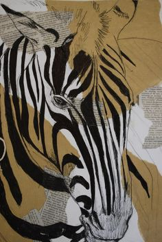 SECONDARY source observation of a zebra in fine liner, experimenting with different backgrounds.