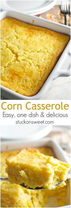 A great make ahead side dish for Thanksgiving or any family dinner! dinner sides Corn Casserole - perfect for a Thanksgiving side dish - Stuck On Sweet Cornbread With Corn, Cornbread Mix, Sweet & Easy, Good Food, Yummy Food, Tasty, Quiches, Side Dish Recipes, Casserole Recipes