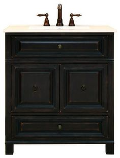 "Sunny Wood BH3021D Antique Black Barton Hill 30"" Wood Vanity Cabinet contemporary bathroom vanities and sink consoles"
