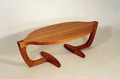 A favorite sculptural design executed with wood top. Fine handmade wooden furniture by Joseph van Benten Furnituremakers in Brookline, Massachusetts.
