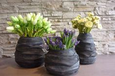 old bicycle tubes diy Recycled Rubber, Recycled Crafts, Diy Crafts, Design Creation, Creation Deco, Old Bicycle, Bicycle Art, Flower Vase Making, Flower Vases