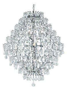 Silver Cascade 9 Light Crystal Chandelier