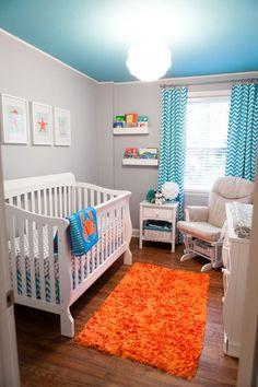 Turquoise & orange nursery. #nursery