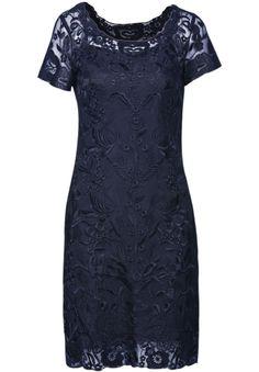 Black Short Sleeve Embroidery Mesh Yoke Dress Women's