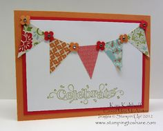 Stampin' Up! Outlined Occasions, Designer Series Paper and Pennant Punch.  Quick and easy.