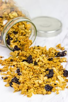 Weekdays always begin with a bowl of Greek yogurt topped with homemade granola. This Cherry Walnut Granola is a tasty way to get your day started!