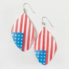Fourth of July Feather Drop Earrings