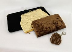 Vintage 60s Clutches, Coin Purse / Black Gold Brown