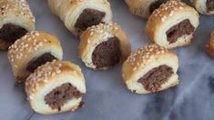 Authentic South African sausage rolls make for excellent appetizers and are always popular at parties. The spices I use make these exceptionally flavorful. South African Recipes, Sausage Rolls, Muffin, Bread, Drinks, Breakfast, Food, Drinking, Morning Coffee
