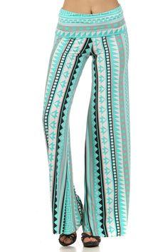 Palazzo Pants Mint Santorini Greek Key Status Stripe Silky Stretch Fold Waist   eBay - BACK IN STOCK!