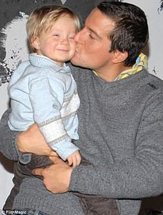 The amazingly sexy Bear Grylls with his son, Jesse. Bear Grylls, Celebrity Kids, Celebrity Crush, Hot British Men, Girls Life, Man Crush, A Good Man, In This World, Hot Guys