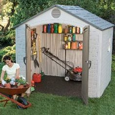 Garden Sheds Vinyl duramax 13x10 insulated vinyl storage shed building kit (with