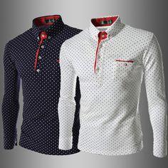 Aliexpress.com: Compre Moda britânica homens Camisa de bolinhas 2014 novo estilo europeu camisas dos homens Slim Fit Camisa de manga comprida casuais Camisa Masculina de confiança camisa da menina fornecedores em AOXUAN CLOTHING CO.,Ltd