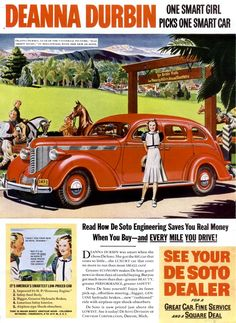 This is a 1938 DeSoto automobile advertisement.  The DeSoto was named after famous Spanish explorer Hernando de Soto whose legacy is founding Florida for the Spanish and his failed expedition through the southeast in a search for gold.