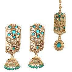 c1c80501f Indian Asian Teal Green Antique Gold Tikka Jhumki Earring Jewellery Jewelry  Set Jhumki Earrings, Teal