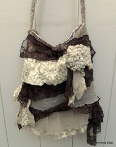 Gypsy Bag, large Shabby Chic bag, soft thick earthy cream and beige ruffled lace. $80.00, via Etsy.