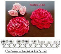 \ PINK ROSE CROCHET /: Flor de Crochê Rosa Enrolada
